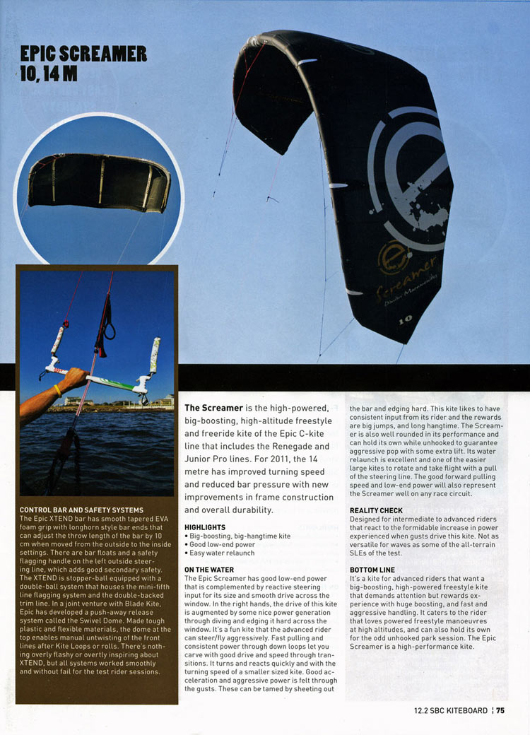 EPIC KITES KITEBOARDING | PRESS | Epic Screamer 10, 14