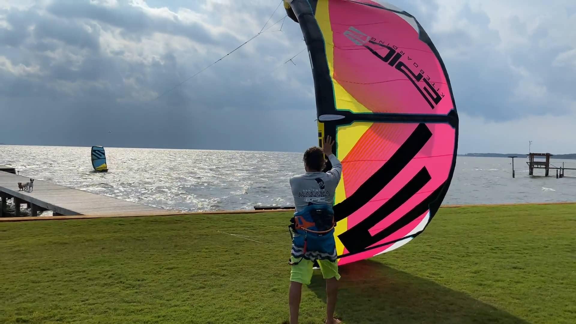 Crazy man launching a kite - with Epic Kites Kiteboarding