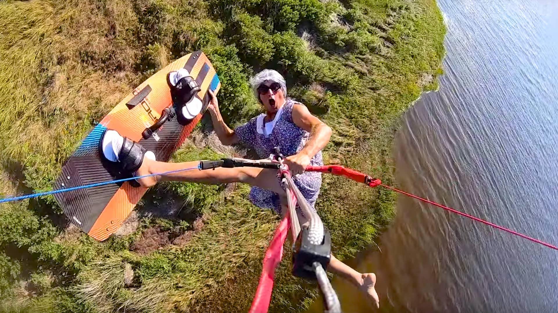 Granny De is back kiteboarding - with Epic Kites Kiteboarding