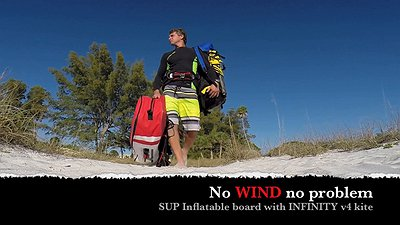 Having fun on the sup inflate board w infinity v4 kite