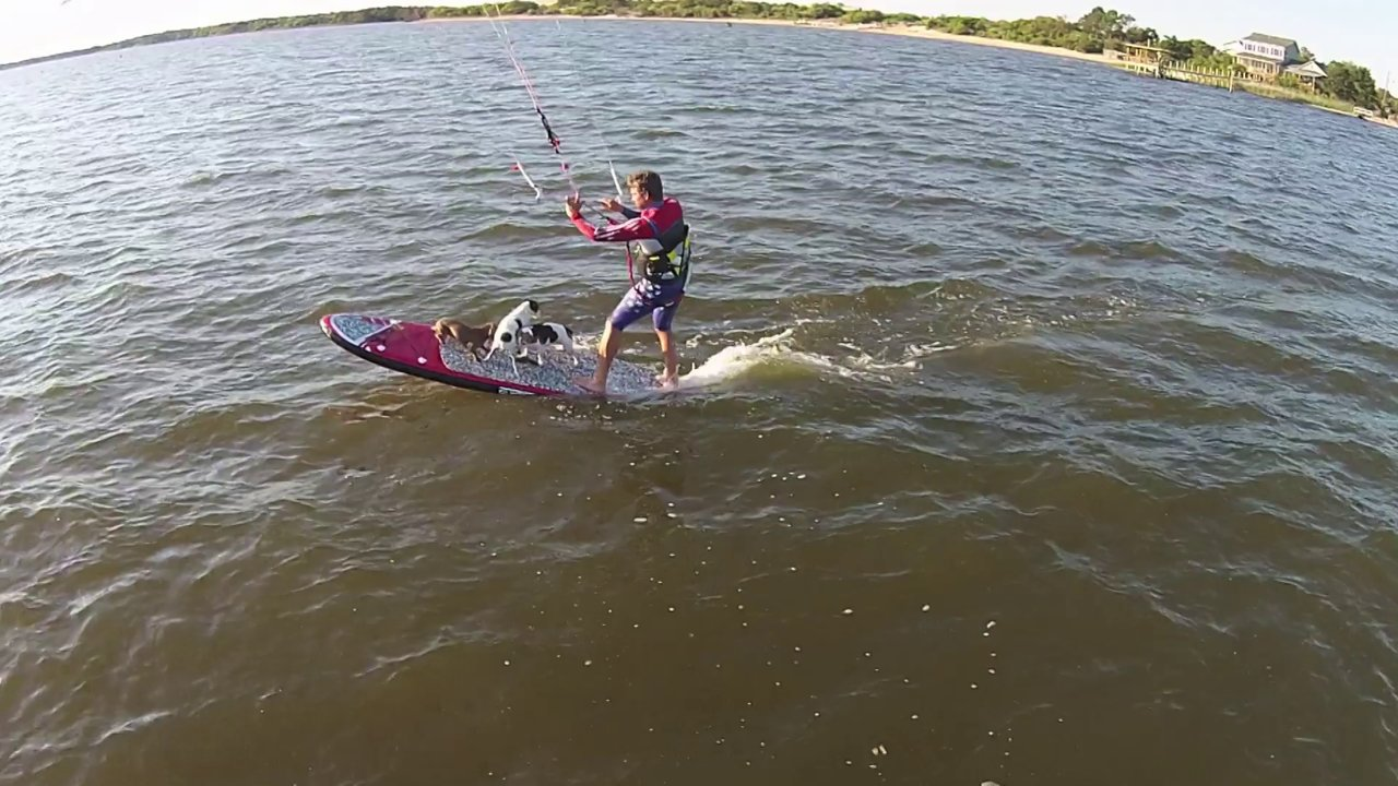 Infinityv4 on the inflatable sup board and 3 dogs - with Epic Kites Kiteboarding