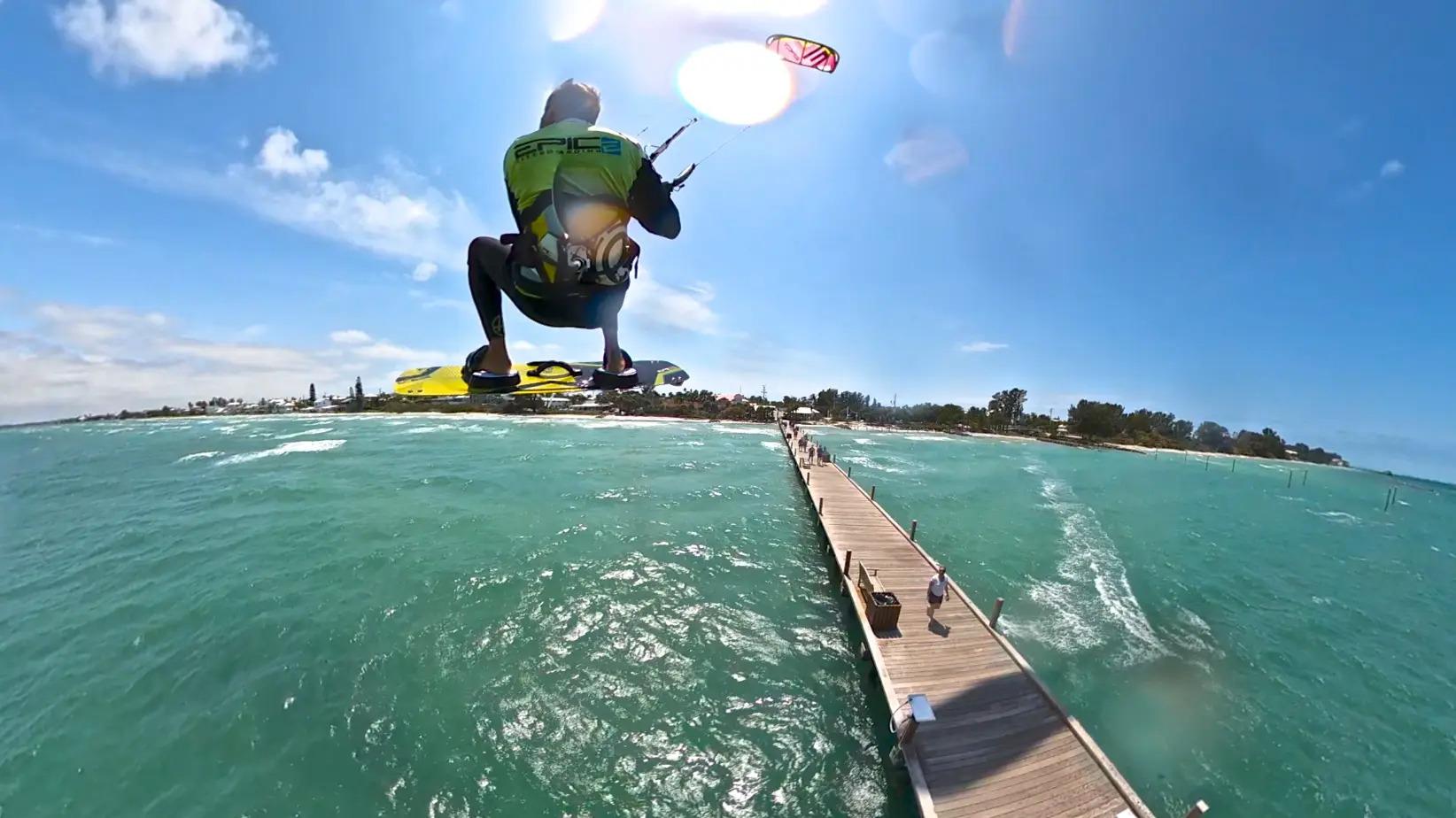 Jumping the Anna Maria pier Florida - with Epic Kites Kiteboarding