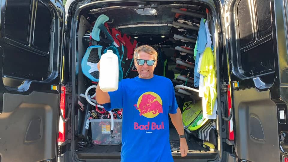 Kitesurfer Drinking Smart - with Epic Kites Kiteboarding